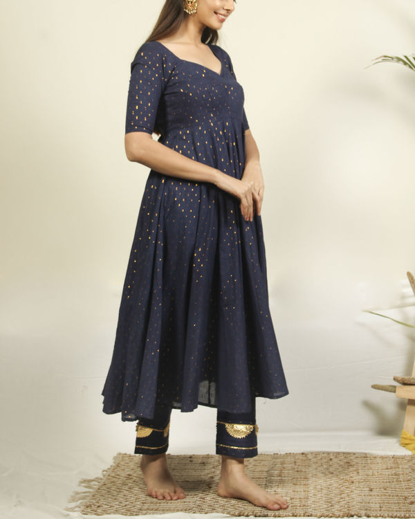 Denim Blue flared kurta with flower dupatta 2