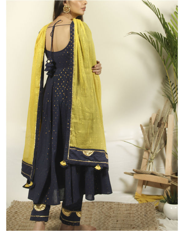 Denim Blue flared kurta with flower dupatta 3
