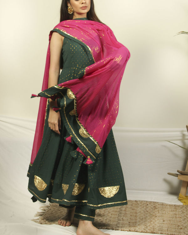 Pine green gota set with dupatta 1