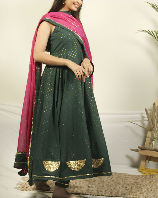 Pine green gota set with dupatta 2