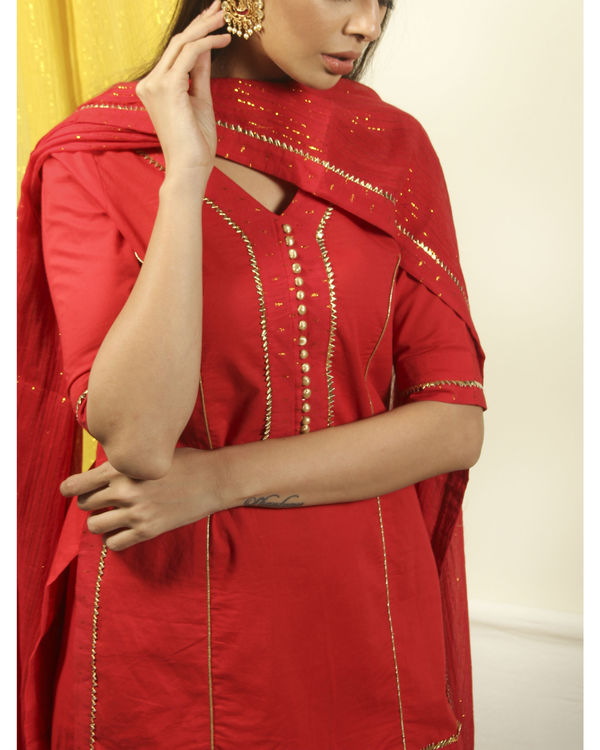 Brick red gharara gota kurta with dupatta 2