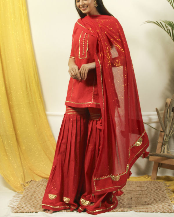 Brick red gharara gota kurta with dupatta 1