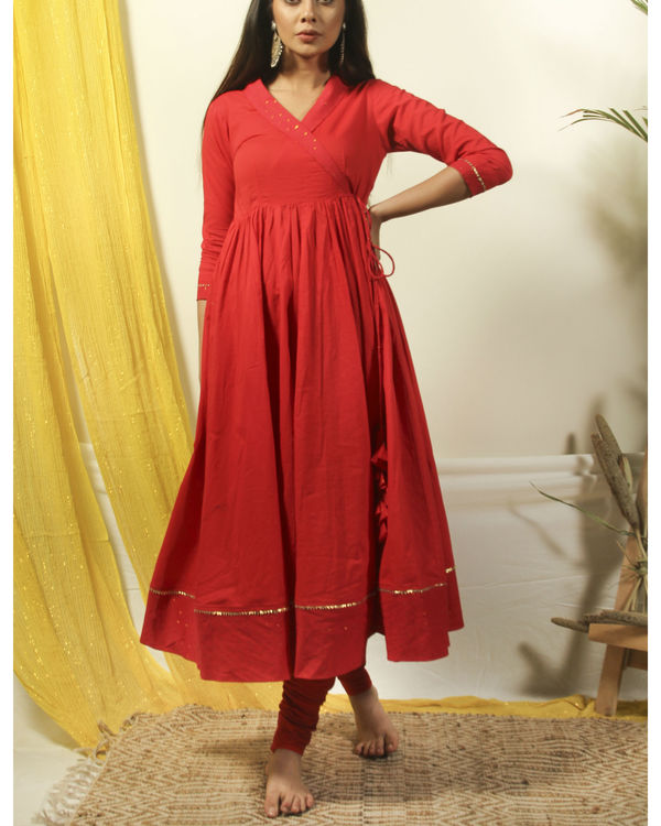 Chili red angrakha kurta churidar set 1