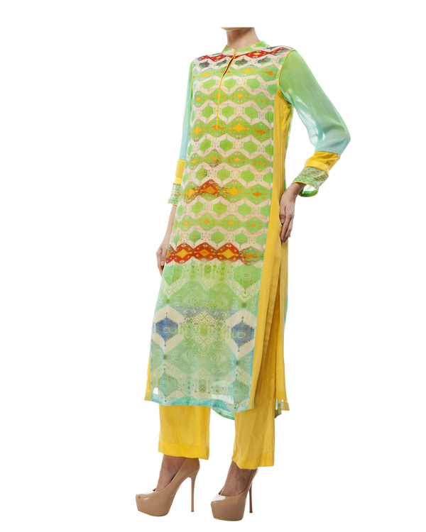 Green & yellow kantha georgette tunic 1