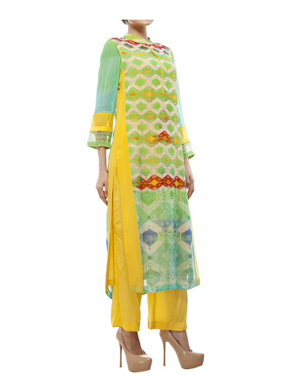 Green & yellow kantha georgette tunic 2