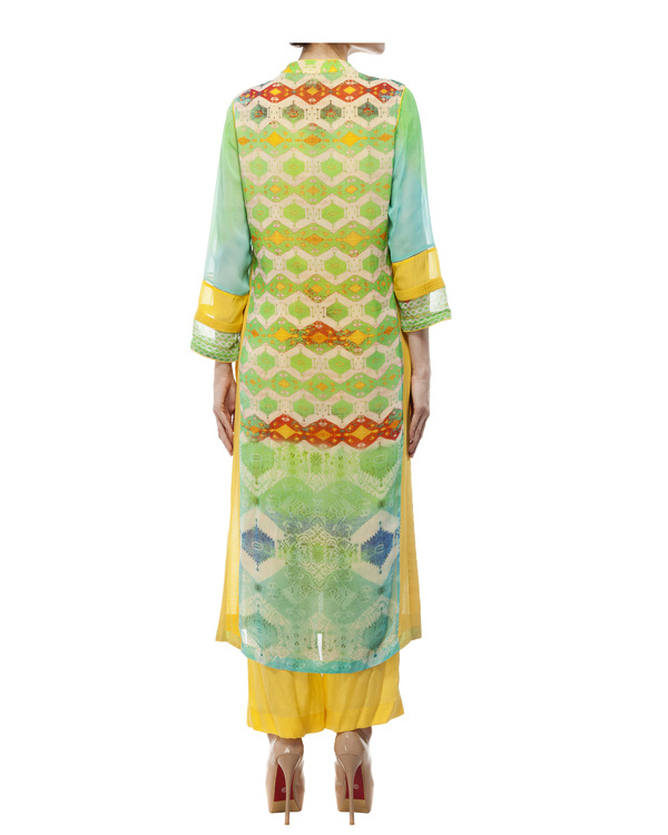 Green & yellow kantha georgette tunic 3