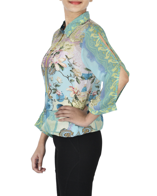 Pastel blue digitally printed shirt 1