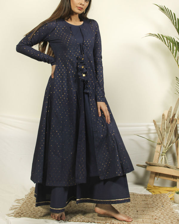 Denim blue kurta set with dupatta 1