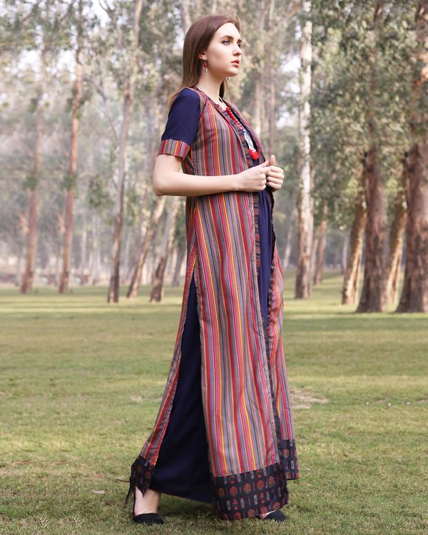 Multi color stripe flare jacket dress 4
