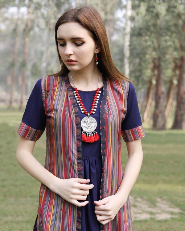 Multi color stripe flare jacket dress 3