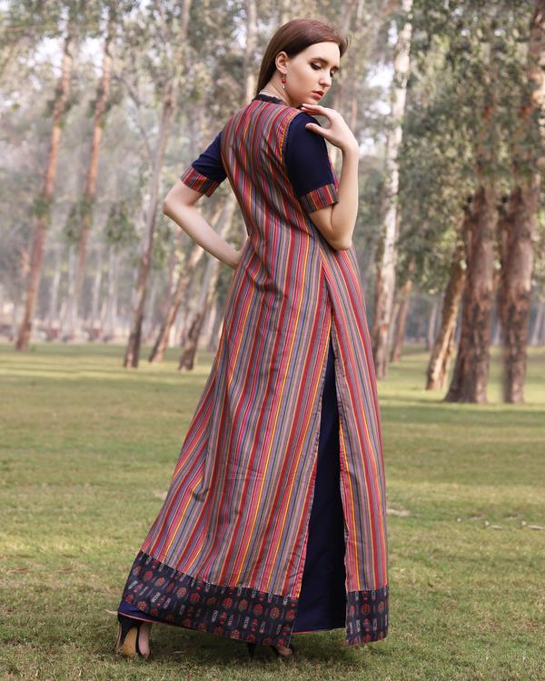 Multi color stripe flare jacket dress 2