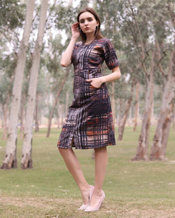 Grey abstract checks midi dress 1