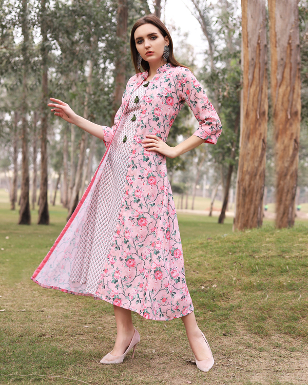 Pink floral printed jacket dress 3