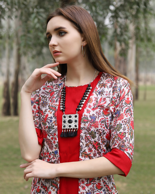 Red boota jacket dress 1