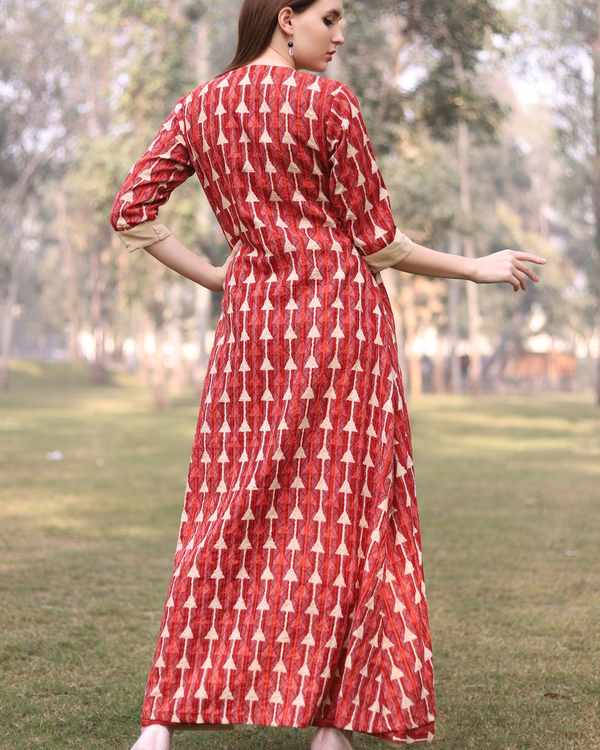 Red kantha work jacket dress 2