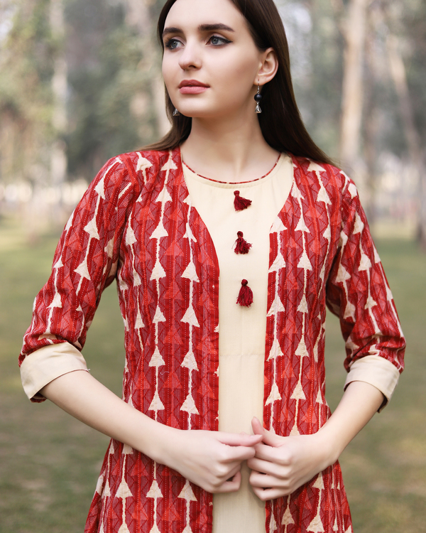 Red kantha work jacket dress 1