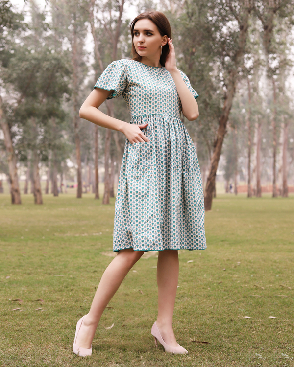 Green and blue small flower boota dress 3