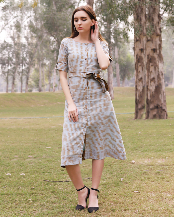 Grey and mustard printed midi dress 1