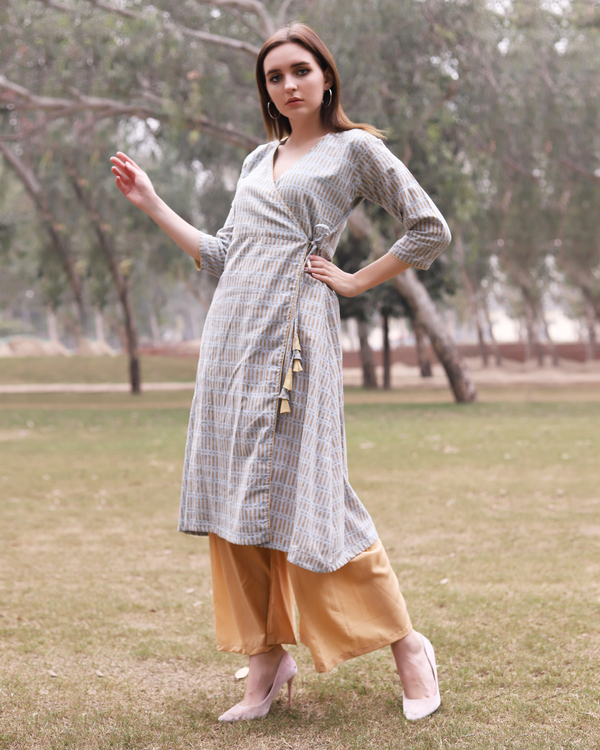Grey printed angrakha kurta with flared gold pants 3