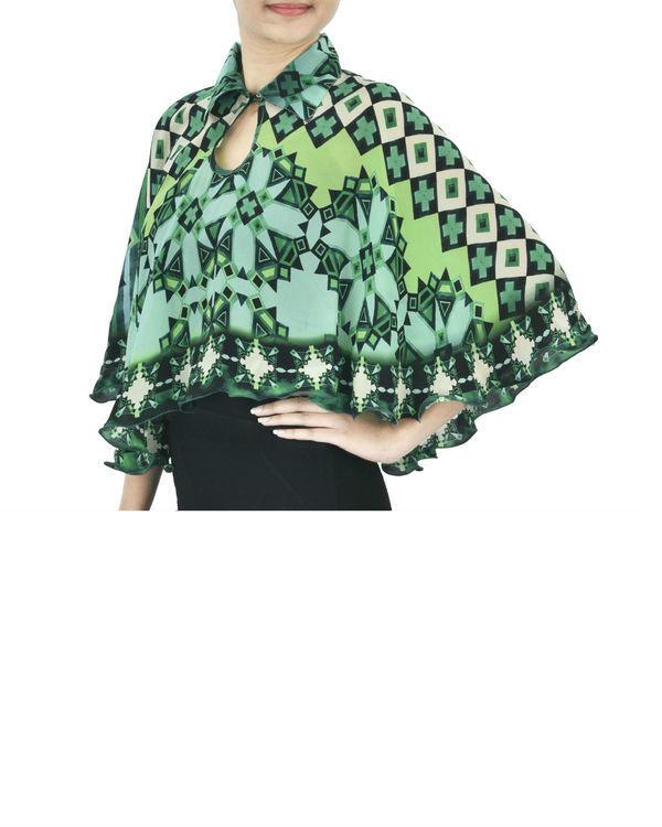 Green georgette cape 1