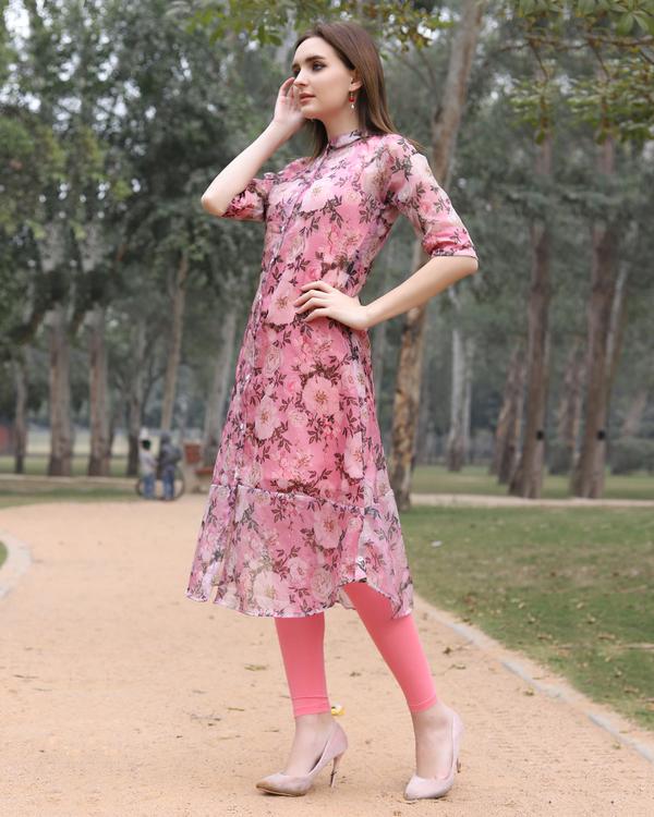 Floral organza pink kurta 1