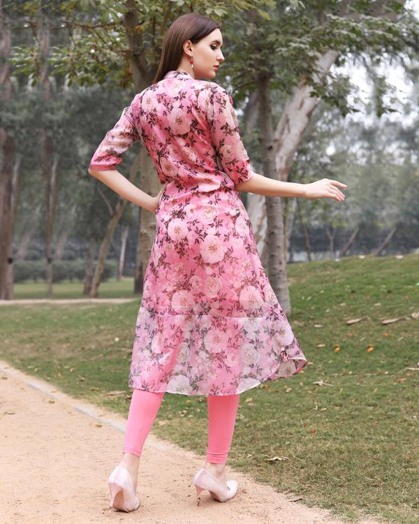 Floral organza pink kurta 3