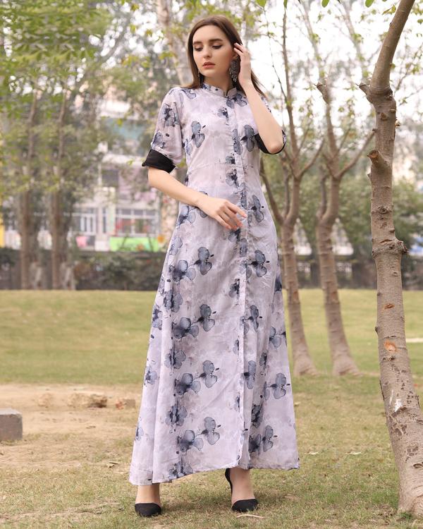 Floral light grey kurta with pants 1