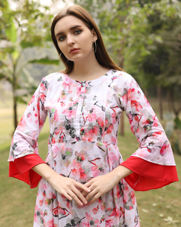 White and red floral dress 2