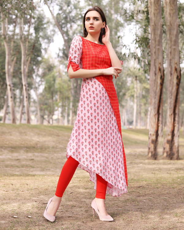 Asymmetrical pink and red half and half tunic 4