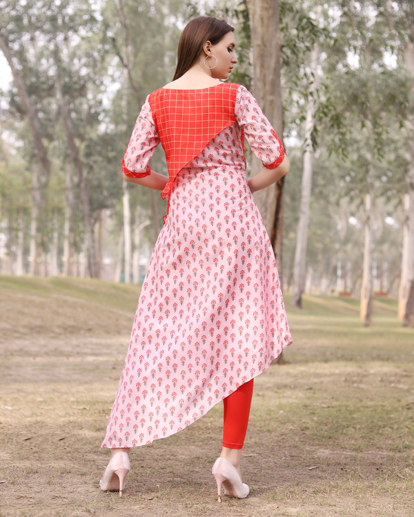 Asymmetrical pink and red half and half tunic 2