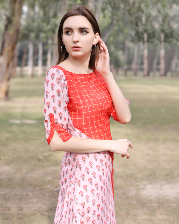 Asymmetrical pink and red half and half tunic 1