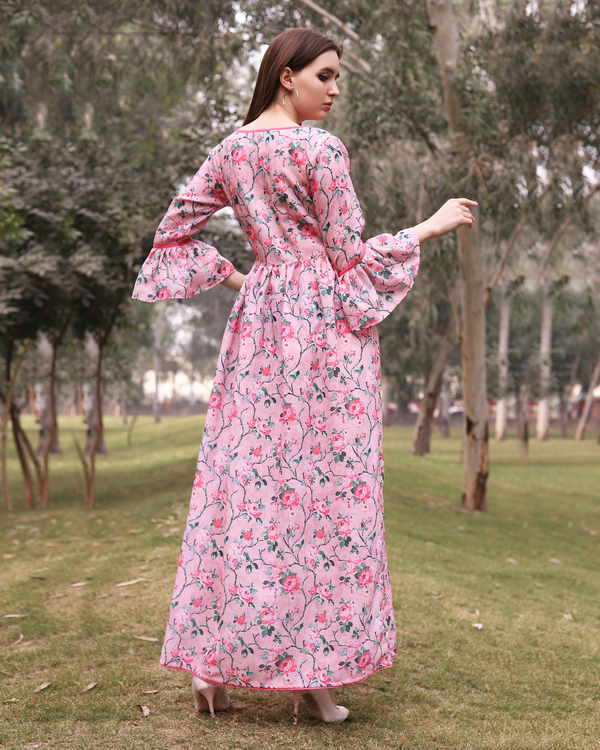 Floral pink gathered dress 2