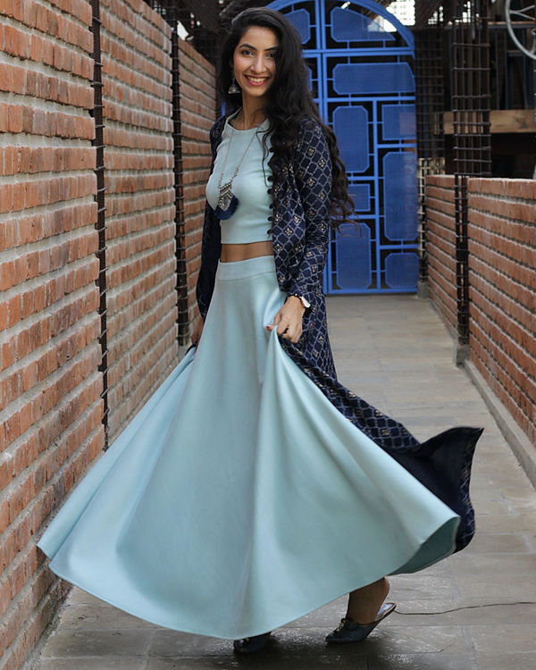 Blush blue skirt jacket set 1