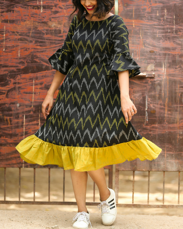 Black and green ikat dress 1