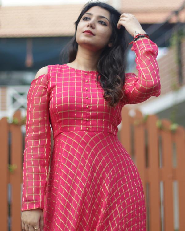 Pink and gold zari dress 1