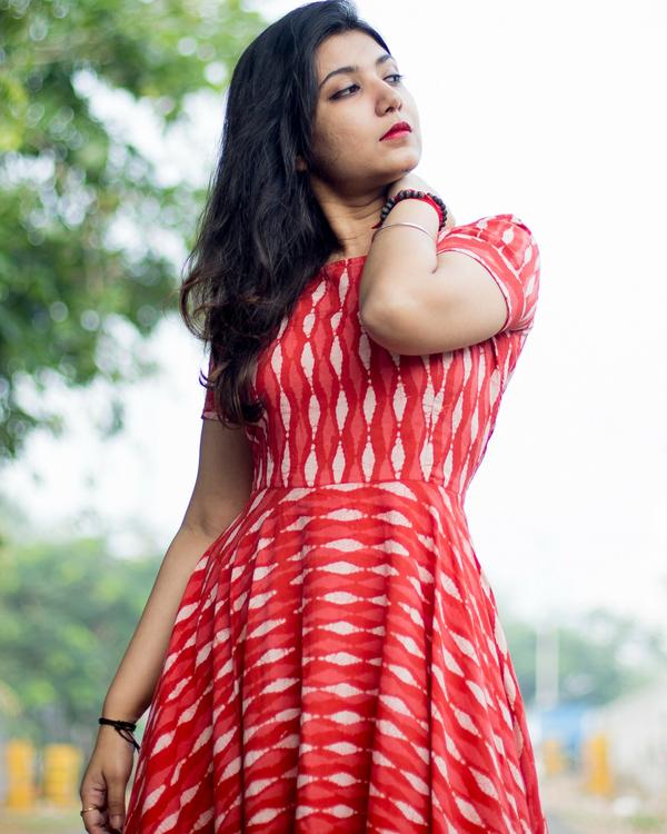 Red asymmetric dress 1