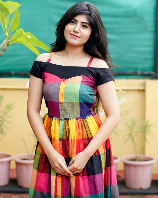 Off-shoulder multicoloured dress 1