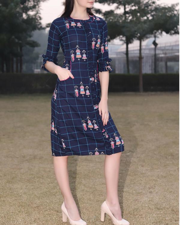Block printed blue dress 1