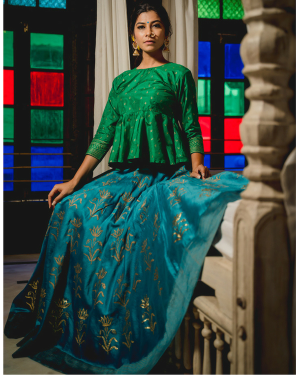 Gulnaz chanderi lehenga with dupatta 2