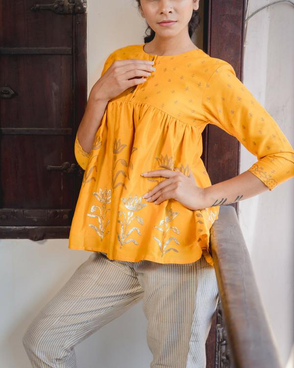 Peela chanderi top with pants 1