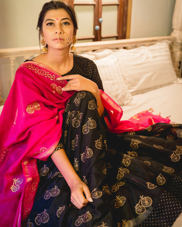 Black chanderi lehenga set with dupatta 1