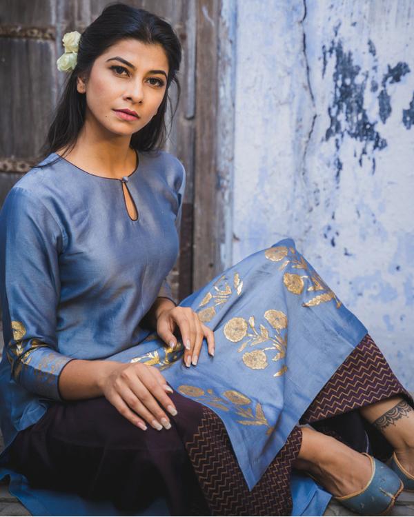Nafisa cobalt blue kurta set with dupatta 2