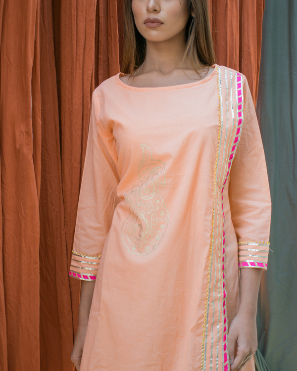 Peach block printed tunic 2