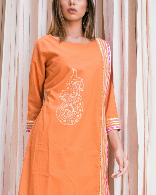 Orange block printed tunic 1