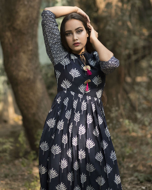 Indigo pink tassel dress 1
