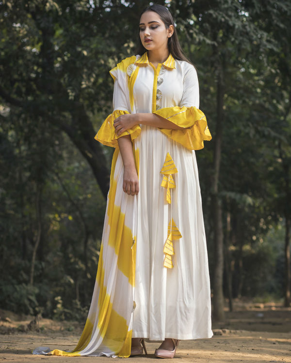 White and yellow collar anarkali with dupatta 2