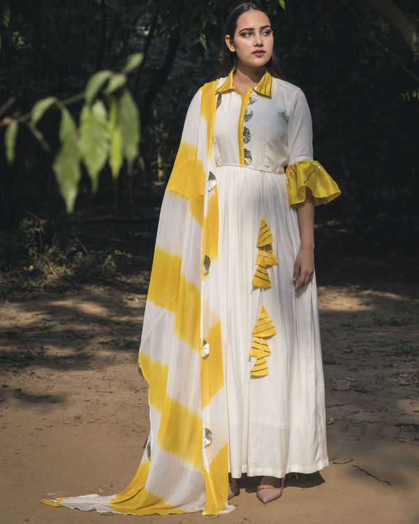 White and yellow collar anarkali with dupatta 1