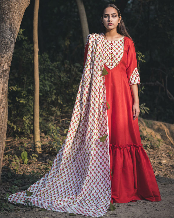 Red boota print anarkali with dupatta 1