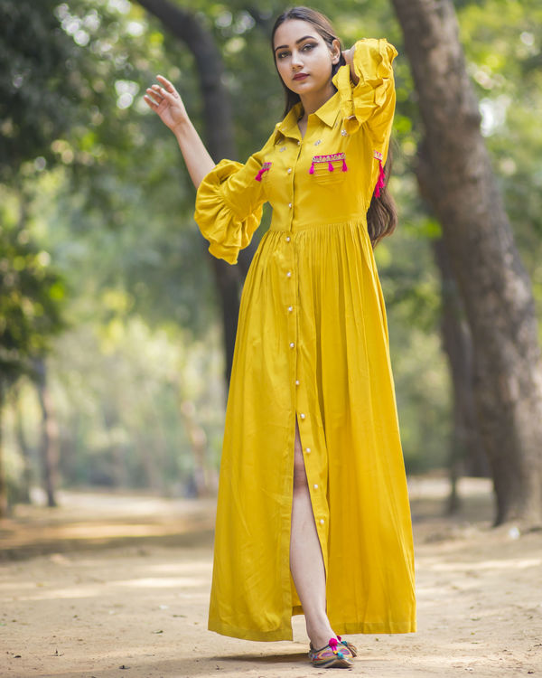 Mustard yellow shirt dress 2
