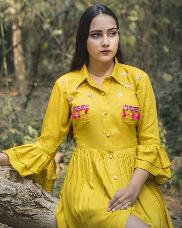Mustard yellow shirt dress 1